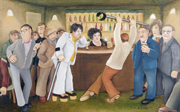 'Lockyer Street Tavern' by Beryl Cook, 1976. Image courtesy of The Box © the artist's estate