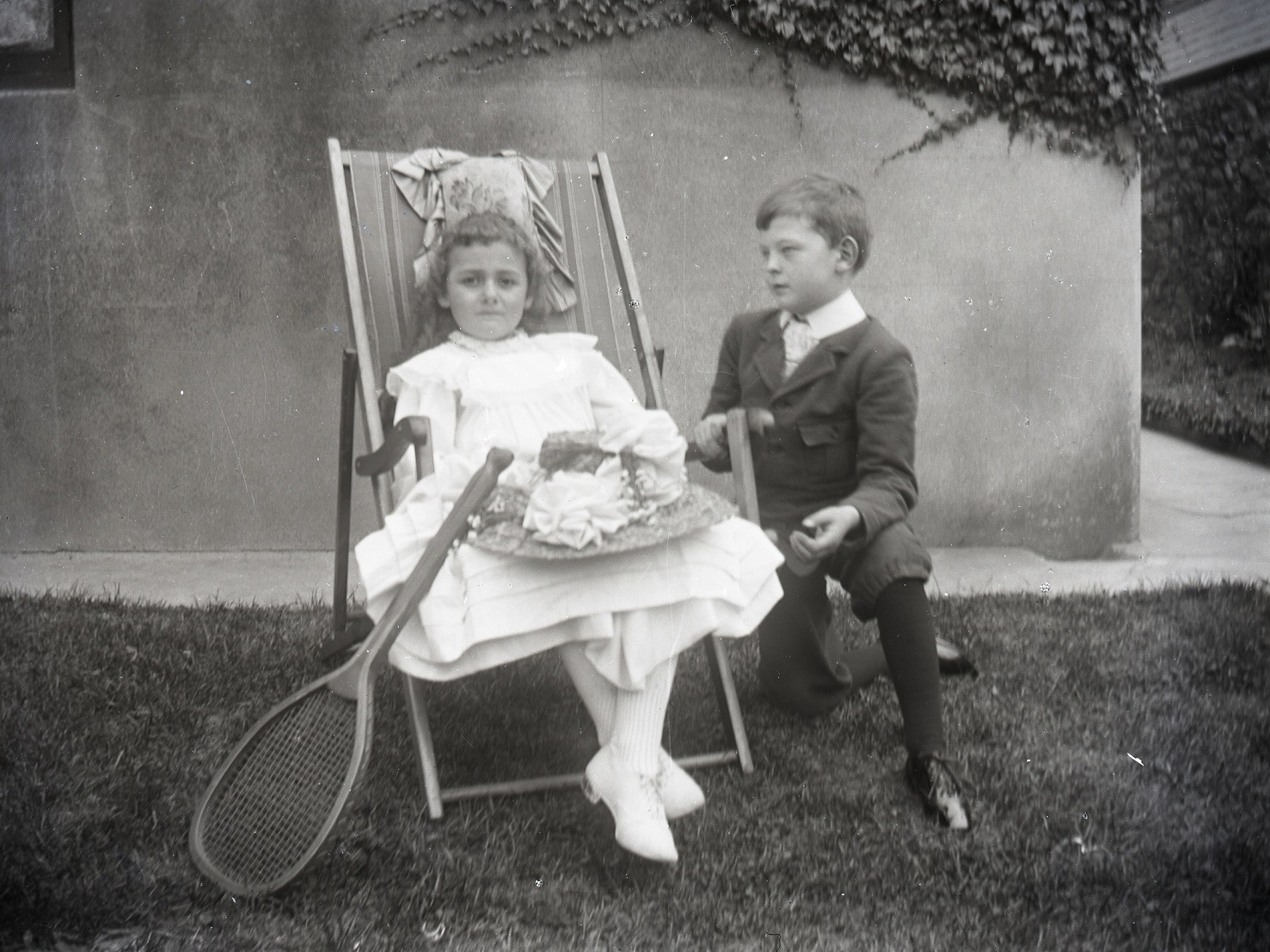 Archive black and white image of a girl and boy